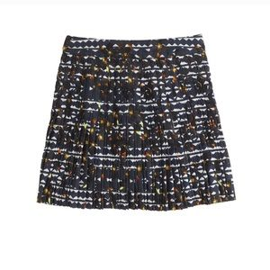 J.Crew Lattice Pleated Skirt Printed Navy